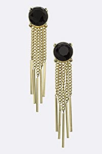 TRENDY FASHION Jumbo Crystal Fringed Chain Statement Earrings BY FASHION DESTINATION | (Black)