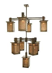 Meyda Tiffany Custom Lighting 72482 Roylance 9-Light Hanging Lantern Chandelier, Antique Copper Finish with Silver Mica Panels