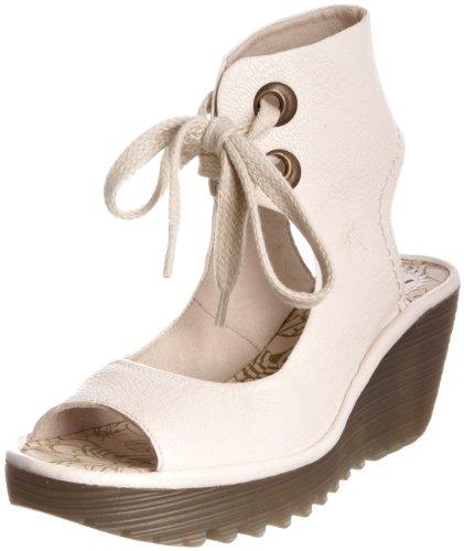 Fly London Women's Yaffa Off White Open Toe Heel P500205006 4 UK
