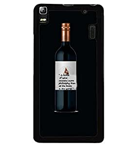 Printvisa Wine Bottle With A Philosophical Quote Back Case Cover for Lenovo A7000