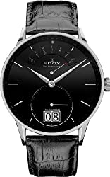 Edox Les Vauberts Black Dial Black Leather Mens Watch 34005-3N-NIN