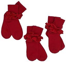 Jefferies Socks Little Girls\' Misty Ruffle Turn Cuff Socks  (Pack of 3), Red, Toddler
