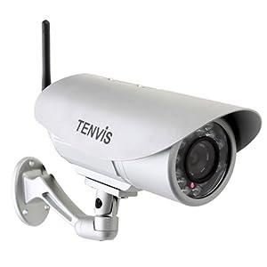 """Caméra IP de surveillance Tenvis IP391W - caméra IP de surveillance d'extérieur waterproof sans fil à vision nocturne - Caméra IP Wifi de sécurité CCTV avec filtre infra-rouge, capteur CMOS 1/4"""" et étanche"""