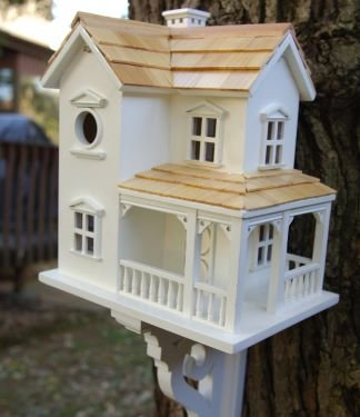 """14"""" Fully Functional Country Meadow 2-Story Ranch Birdhouse front-622527"""