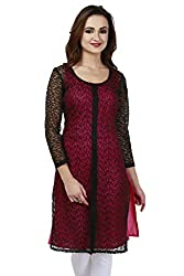 Madhuram Fabric Long Net Brasso 3/4 Sleeve Kurta