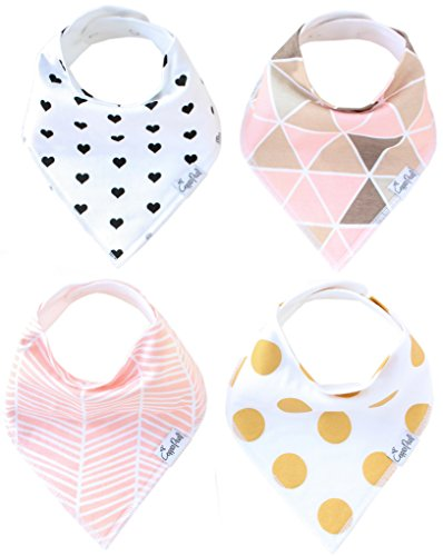 Copper Pearl Baby Bandana Drool Bibs for Girl Blush Set of 4 Absorbent Cotton Bibs Modern Baby Gift Set
