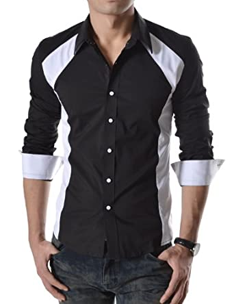 TheLees (N330) Mens Casual Slim Fit 2 Tone Long Sleeve Stretchy Shirts Blackwhite Medium(US Small)