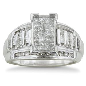 SuperJeweler 1ct HUGE Look Diamond Engagement Ring in Sterling Silver - Q