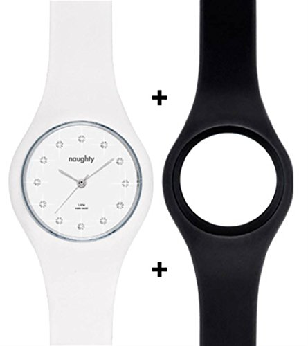 Naughty Watch Montres Femme - Pack Montre Femme Cristaux SWAROVSKI + 2 Bracelets Silicone NAUGHTY 2