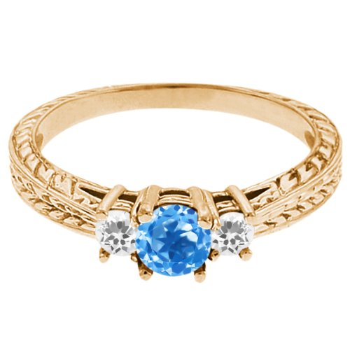 0.59 Ct Round Swiss Blue Topaz White Sapphire 14K Yellow Gold 3-Stone Ring