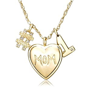 "Gold Plated Sterling Silver Diamond ""#1 Mom"" Necklace, 18"""