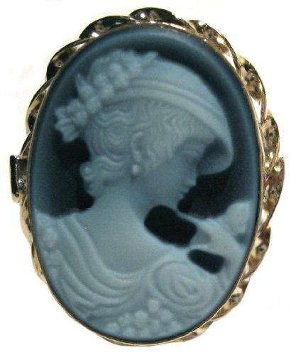 Agate Stone Cameo Ring 925 Sterling Silver 18k Gold Overlay Size 8 Italian