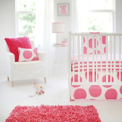 New Arrivals 3 Piece Crib Bed Set, Spot on Fucshia