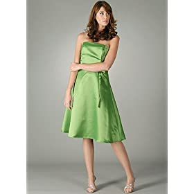 Strapless Satin Classic A Line Dress for Bridesmaid Formal Prom Wedding