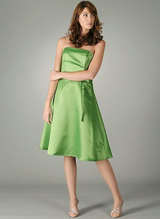 Strapless Satin Classic A Line Dress Medium GREEN
