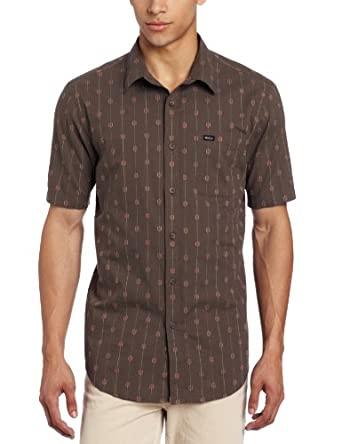 RVCA Men's Sumac Short Sleeve, Dark Charcoal, Small