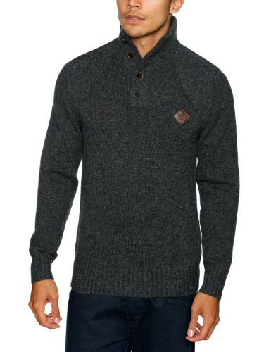 Timberland Wool Half Button Men's Jumper Dark Charcoal Heather Small