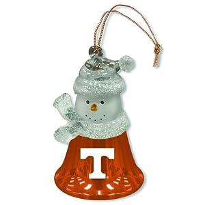 "Set of 2 NCAA Tennessee Volunteers Snowman Bell Christmas Ornaments 2.5"""