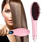 HHE Brush Hair Straightener Digital Anti Static Ceramic Instant Silky Straight Hair Styling Anion Hair Care Anti-scald Zero Damage Massage Straightening Irons Detangling Hair Brush/Comb(pink)