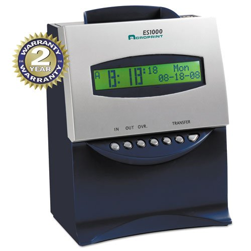 Acroprint - Es1000 Totalizing Digital Automatic Payroll Recorder/Time Clock, Blue And Silver 010215000 (Dmi Ea