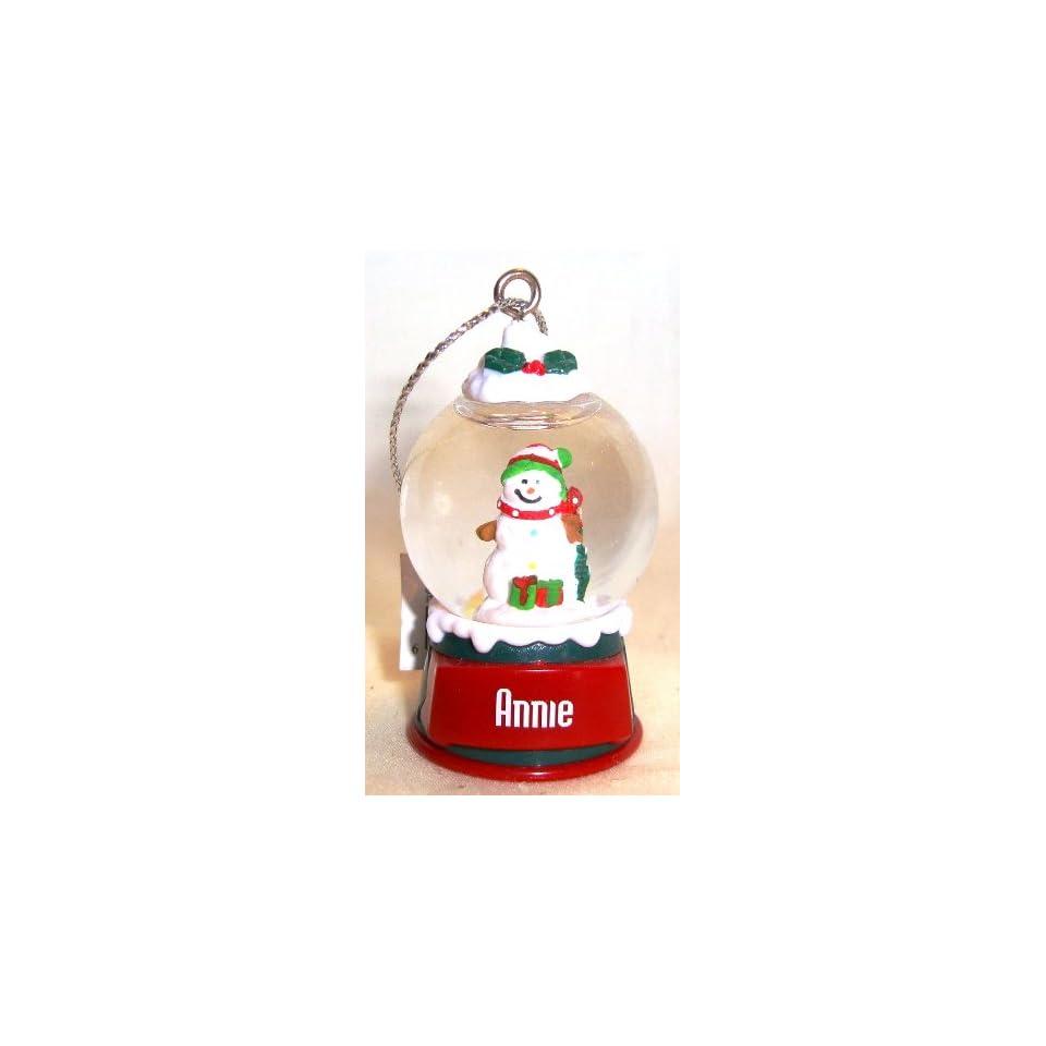 Annie Christmas Snowman Snow Globe Name Ornament
