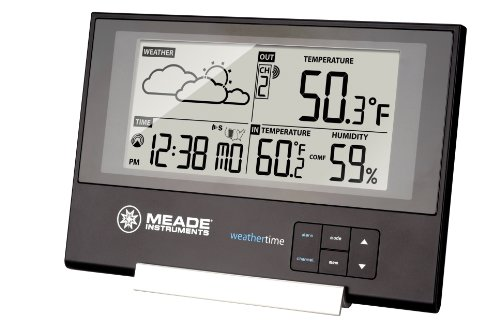 Meade Instruments TE346W Slim Line Personal Weather Station with Atomic Clock (Meade Indoor Outdoor Thermometer compare prices)