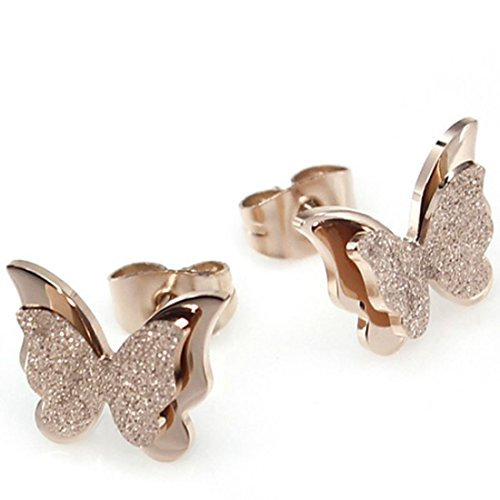 Elove Jewelry Frosted Butterfly Rose Gold Plated Stud
