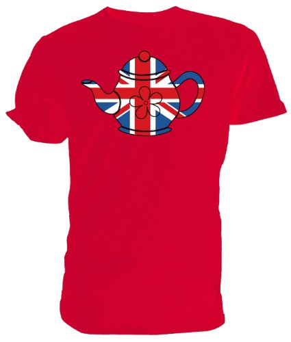 Best of British T shirt, Union Jack Teapot red size medium