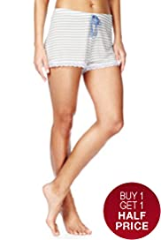 Floral Lace Striped Pyjama Shorts