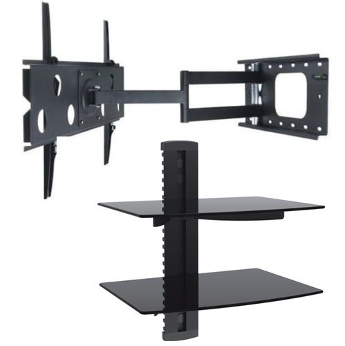 2Xhome - Tv Wall Mount Bracket & Two (2) Double Shelf Package - Led Lcd Plasma Smart 3D Wifi Flat Panel Screen Monitor Moniter Display Displays - Long Swing Out Single Arm Extending Extendible Adjusting Adjustable - Dual 2 Tier Under Tv Tempered Glass Flo