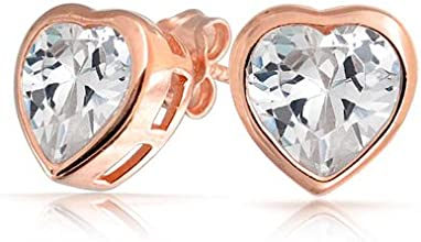 Bling Jewelry Rose Gold Plating Sterling Silver Clear CZ Bezel Setting Heart Stud Earrings 7mm