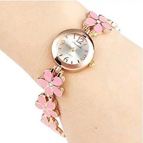 Quartz Movement Brass Strap Lady'S Girl'S Watch Wristwatch Valentine'S Day Gift Pink