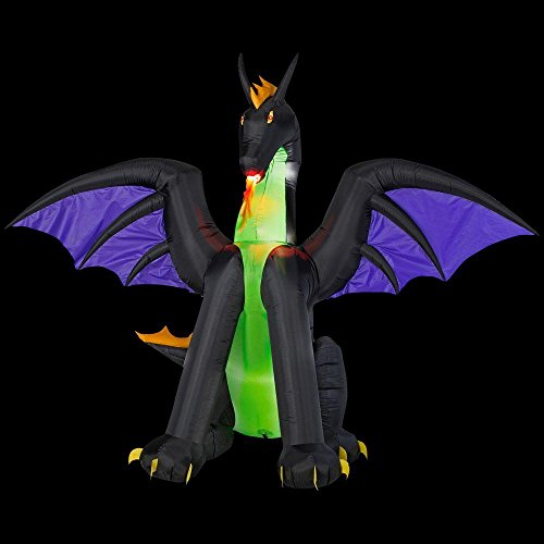 RARE Inflatable Lighted Dragon with Flaming Mouth Halloween Simulated Fire Breathing 90 in. W x 57 in. D x 72