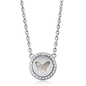 Beautiful Diamond Mother Of Pearl Butterfly Necklace 18