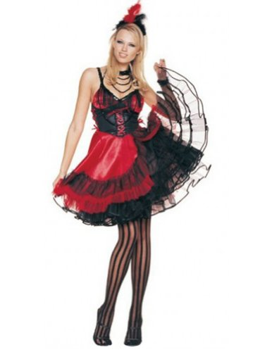 Sexy Saloon Girl Halloween Costume,Black/Red,X-Large