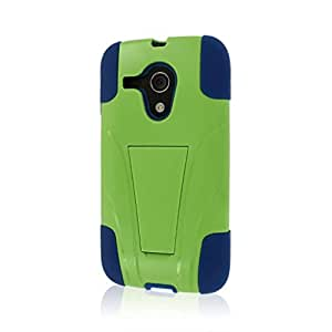 Motorola Moto G Case (1st Gen), MPERO IMPACT X Series Dual Layered Tough Durable Shock Absorbing Silicone Polycarbonate Hybrid Kickstand Case for Moto G (1st Gen) [Perfect Fit & Precise Port Cut Outs] - Blue / Green