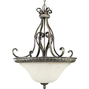 Progress Lighting P3664-87 Four-Light Inverted Bowl Foyer Fixture with Antique Stone Glass, Fieldstone