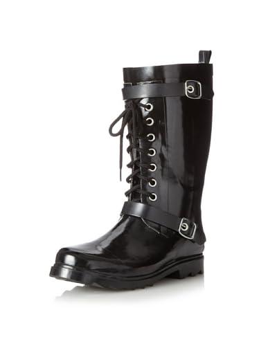 dav Women's Moto Lace-Up Boot  [Black]