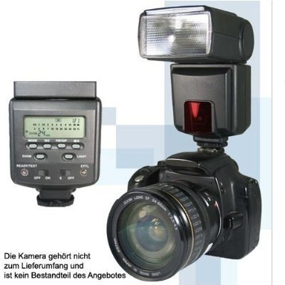 POWER MOTORZOOM SYSTEMBLITZ bzw. BLITZ (Leitzahl 45) mit E-TTL und E-TTL II f&#252;r viele CANON EOS M Systemkameras , CANON EOS Spiegelreflexkameras und CANON PowerShot ...(by SIOCORE )