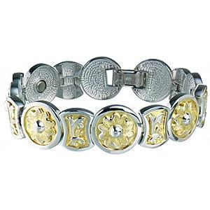 Sabona 925 Sterling Round Flower Duet Magnetic Bracelet