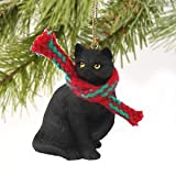 1 X Tiny Ones Black Cat Ornament w/scarf