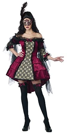 California Costumes Women's Eye Candy - Mysterious Masquerade Adult, Burgundy/Black, X-Small