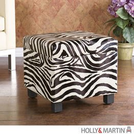 holly & martin safari storage ottoman in zebra