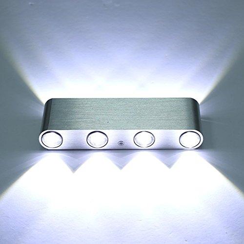 Lightess Lampada da Parete Moderna in Alluminio con 8 LED, Applique 8W per Soggiorno, Camera da Letto, Negozi, Ristoranti, Bianco Freddo