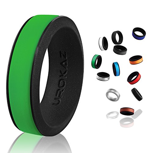 UROKAZ   Silicone Wedding RingGreen   BlackSize 11  Inner Diameter ~ 20.57 mm
