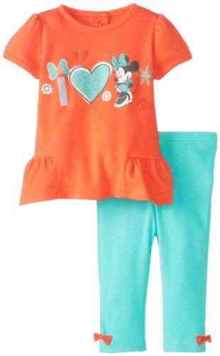 Disney Baby Baby-Girls Newborn Hot Coral 2 Piece Minnie Mouse Legging Set, Hot Coral/Bermuda, 3-6 Months front-913343