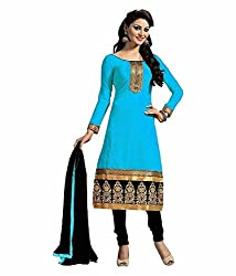 Radhey Arts Blue Chanderi Embroidered Dress Material