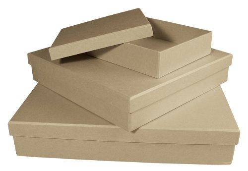 rayher-hobby-8118900-kit-de-boites-papier-mache-carre-32-x-32-x-6-cm-25-x-25-x-5-cm-15-x-15-x-4-cm