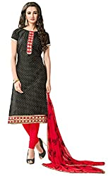 Clickedia Women's Bombay Cotton Embroidered Black & Red Salwaar Suit Dupatta - Dress Material