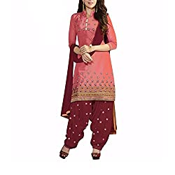 Destiny Enterprise Cotton Unstitched Red and Marron Color Embroideried Salwar Suit Dress Material for Women